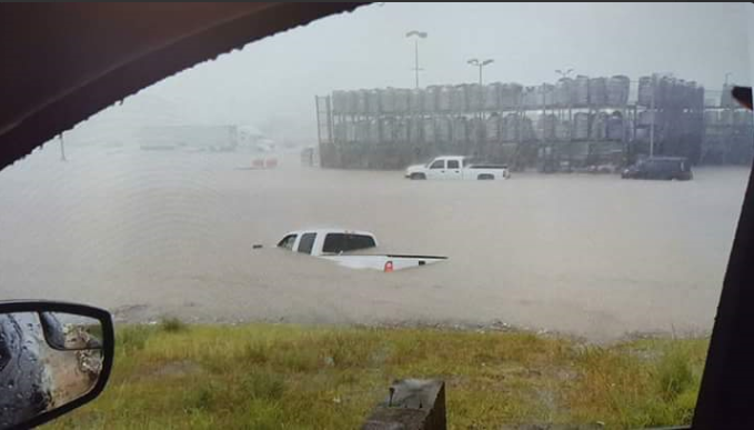 Flooded vehicles near 50th Street and Loop 289 (near Lowes) in southwest Lubbock on Wednesday, 1 June 2016. The picture is courtesy of Bekki Reyes Germany.