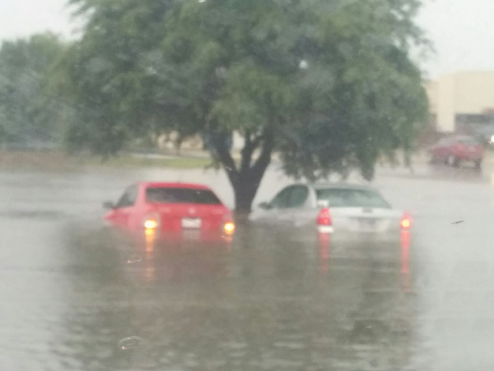 Flooding that occurred in and around the South Plains Mall in southwest Lubbock on 1 June 2016.