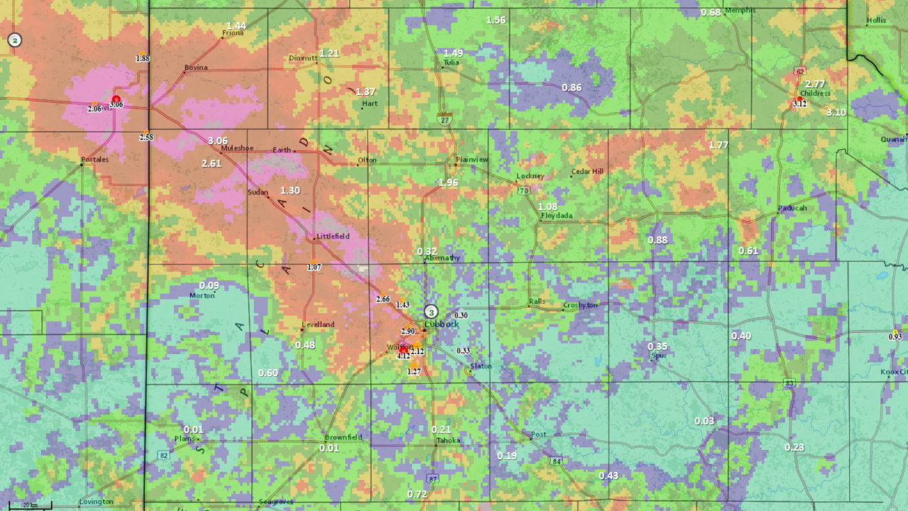 24-hour rainfall totals reported from around the South Plains region, ending Thursday morning (2 June 2016). A majority of the reports are from the West Texas Mesonet. The background map is the radar-estimated storm total precipitation from the Lubbock WSR-88D. It should be noted that the radar image is for the past several days, ending the morning of the 2nd, so it overstates the rainfall in some spots.