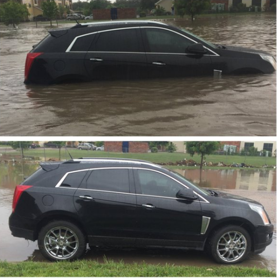Picture of flooding in southwest Lubbock on 1 June 2016. The right picture is from Hector Iafuente.