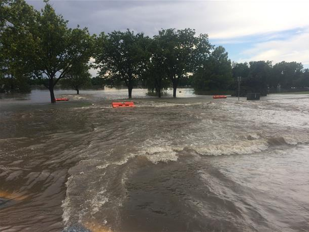 Picture of flooding around southwest Lubbock on 1 June 2016. The picture is courtesy of KCBD.