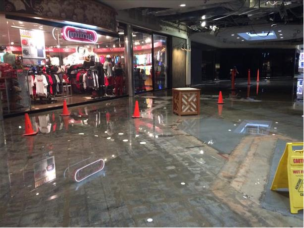 Picture of flooding in the South Plains Mall on 1 June 2016. The top center picture is courtesy of Valerie Vasquez and KCBD.
