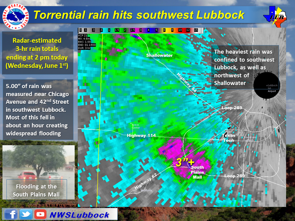 Close up view of the radar-estimated rainfall that fell over southwest Lubbock on 1 June 2016. at 6:45 pm on 29 May 2016.
