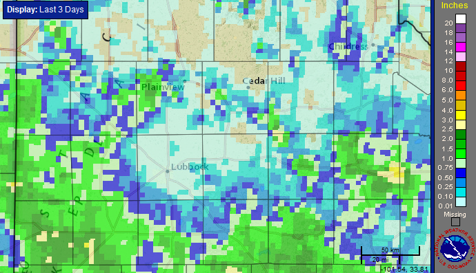 Radar-estimated and bias-corrected 3-day rainfall ending at 8 am on 12 June 2016.
