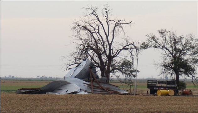 Pictures of a destroyed shed caused by a severe storm that moved just north of Muleshoe on the evening of 9 June 2016. The picture is courtesy of Tyler Black and Channel 6 Muleshoe.