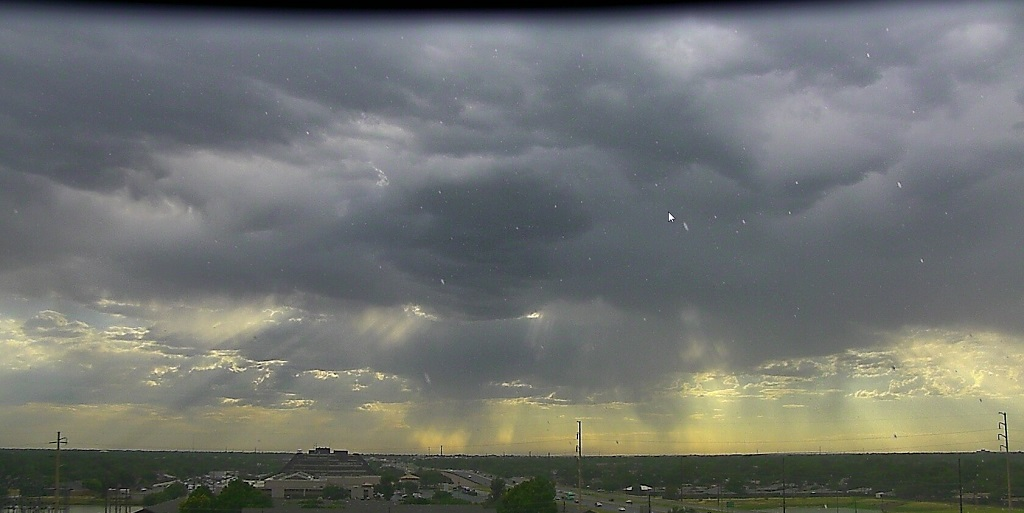 Looking west at thunderstorms across Lubbock around 7:30 pm Wednesday evening