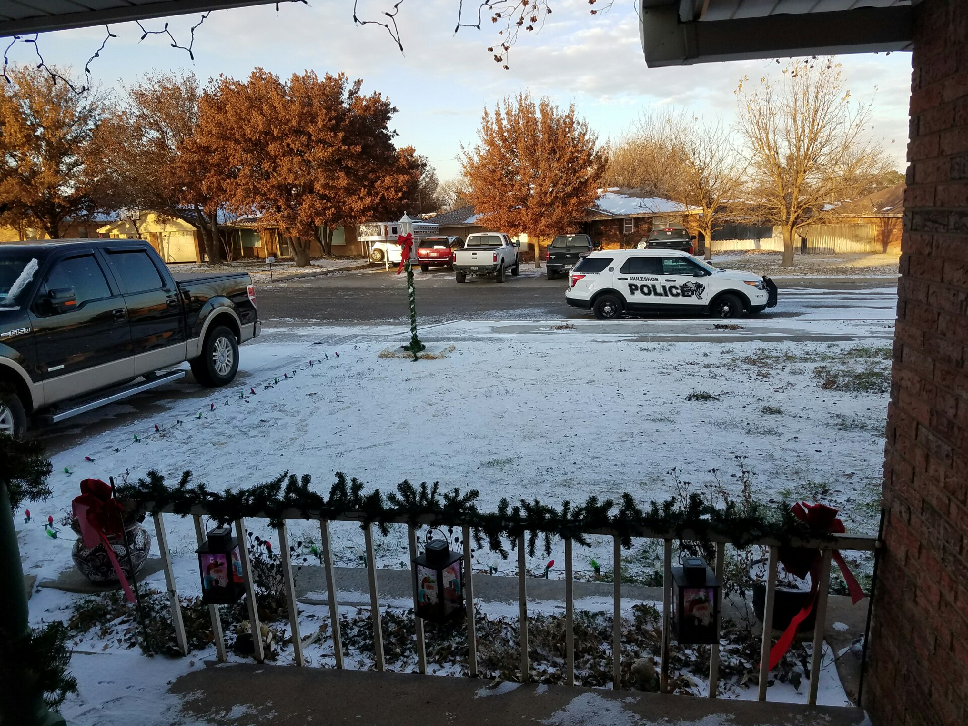 Residual sleet and snow in Muleshoe. The picture is courtesy of Roy Rice.