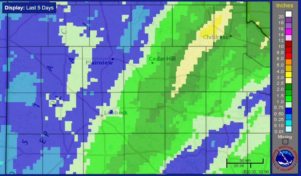 Radar-estimated and bias-corrected 5-day rain totals ending at 10 am on Friday, 17 February 2017.