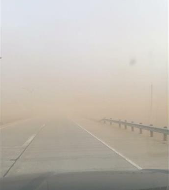 Low visibility courtesy of copious amounts of blowing dust. Picture is by Anna Rivera (via KCBD).
