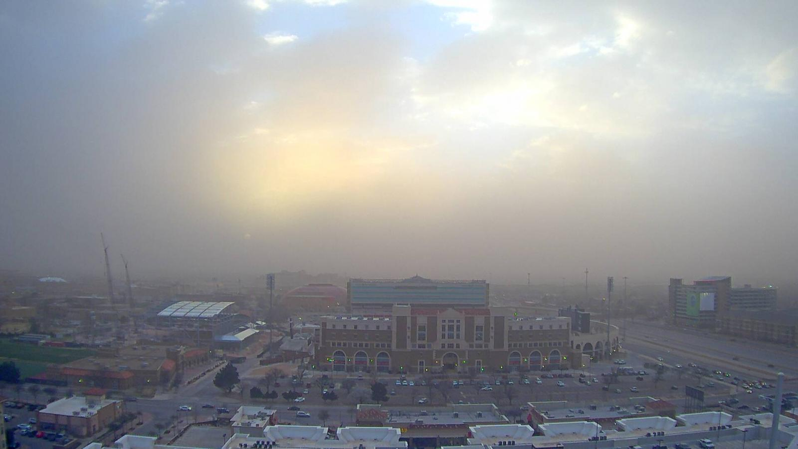 A dusty, albeit strangely picturesque image captured just before sunset looking over the north side of the Texas Tech Campus.The pictures is courtesy of KAMC.