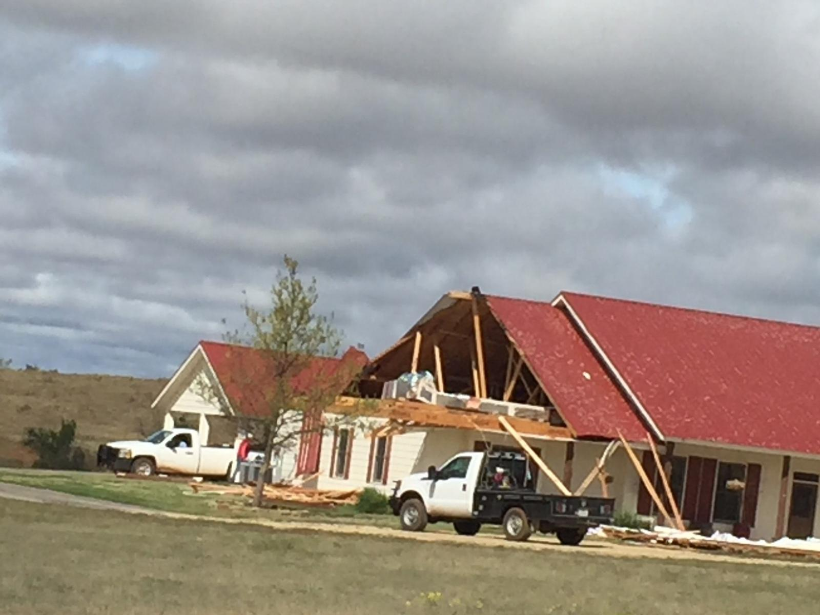 Tornado damage that occurred at Pitchfork Ranch during Tuesday afternoon. The picture was taken by John Lipe the following day.