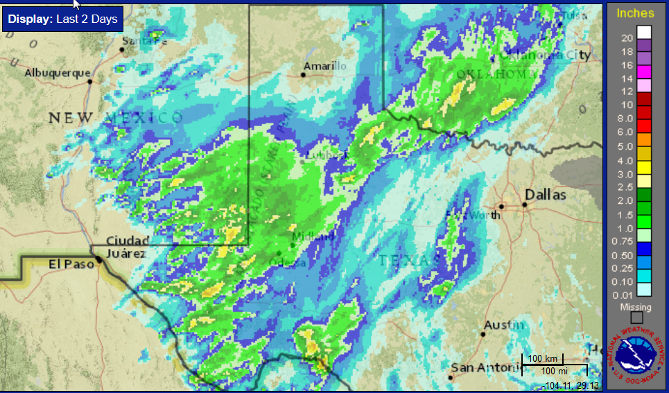 Two-day radar-estimated and bias-corrected rainfall ending at noon on 13 April 2017. To view a close up of the South Plains region click on the map. Additionally, a 48-hour rain total map from the West Texas Mesonet can be FOUND HERE.