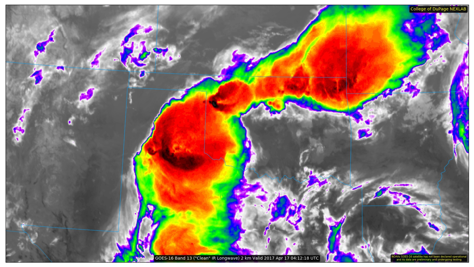 Infrared satellite image of thunderstorms over West Texas Easter night