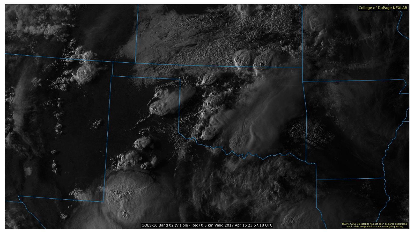 Satellite image of storms over  West Texas on Easter evening