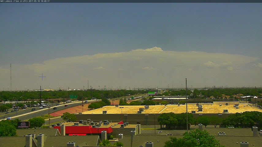 Visual view of a storm located over King County on Thursday afternoon, 18 May 2017. The picture is looking east from south Lubbock.