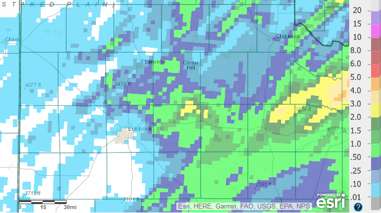 Radar-estimated and bias-corrected 7-day rain totals ending at 7 am on 19 May 2017.