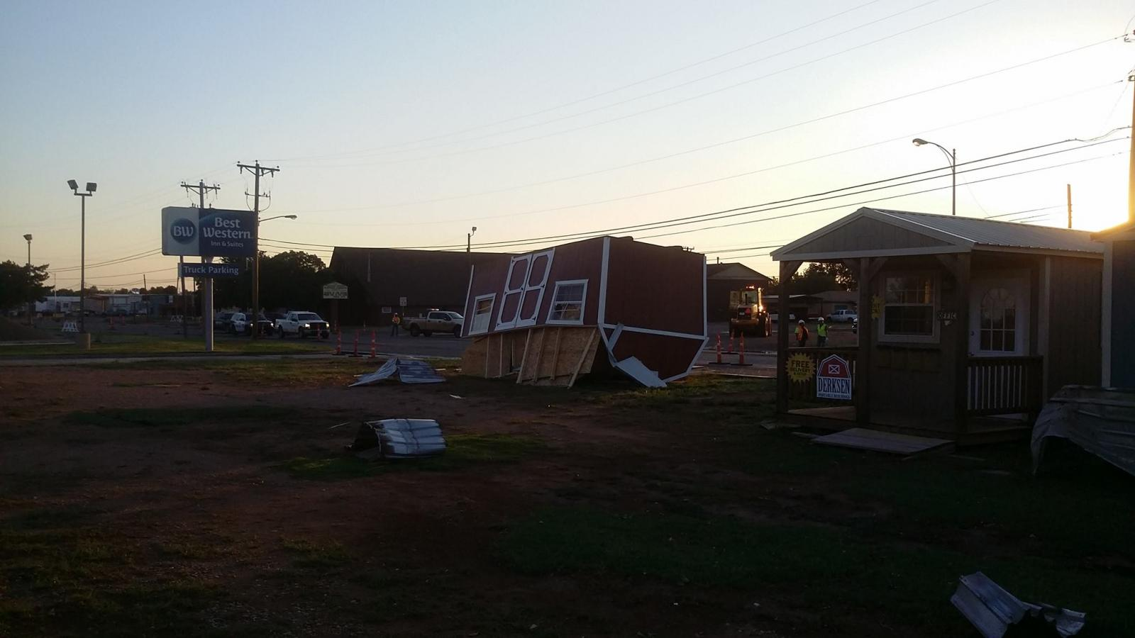 Picture of damage that occurred on the north side of Levelland early on the morning of the 4th of July. The picture is courtesy of the Levelland Fire Department.