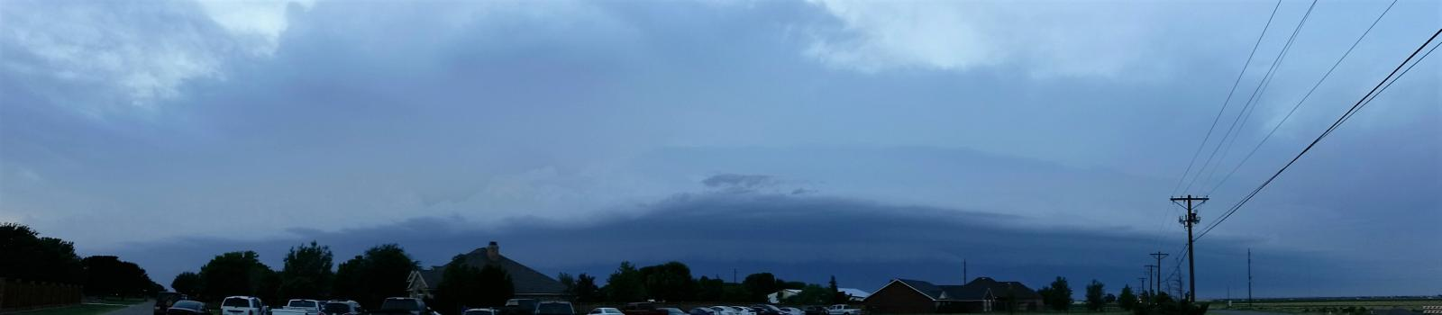 Panorama of the shelf cloud approaching the south side of Lubbock near sunset on the 4th of July.