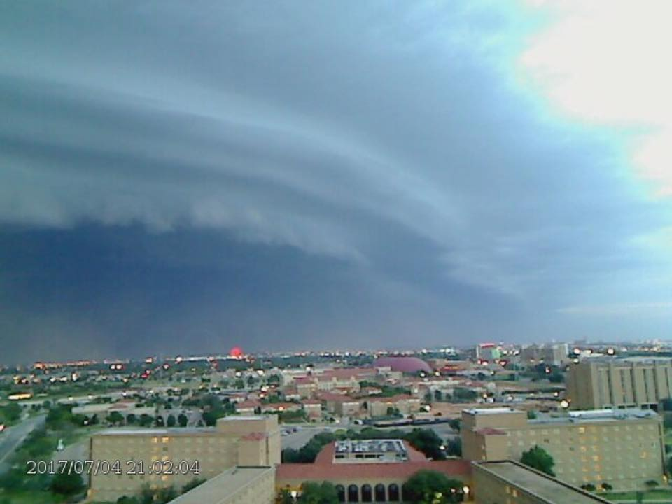 Shelf cloud along with blowing dust approaching Lubbock Tuesday evening, 4 July 2017. This picture is looking north from Texas Tech University at 9:02 pm.