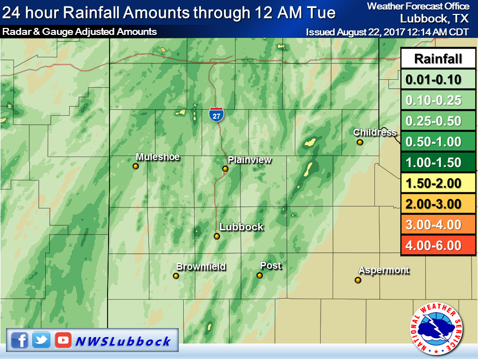 120-hour rainfall totals from the West Texas Mesonet ending at 7 am 8/2/2017