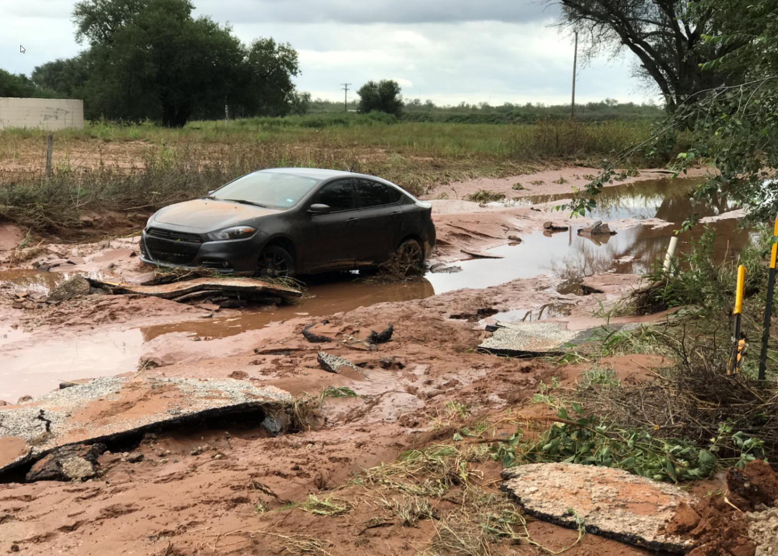The flood waters washed out parts of FM 1619 just east of Highway 287 near Newlin. The image is courtesy of Bruce Haynie.