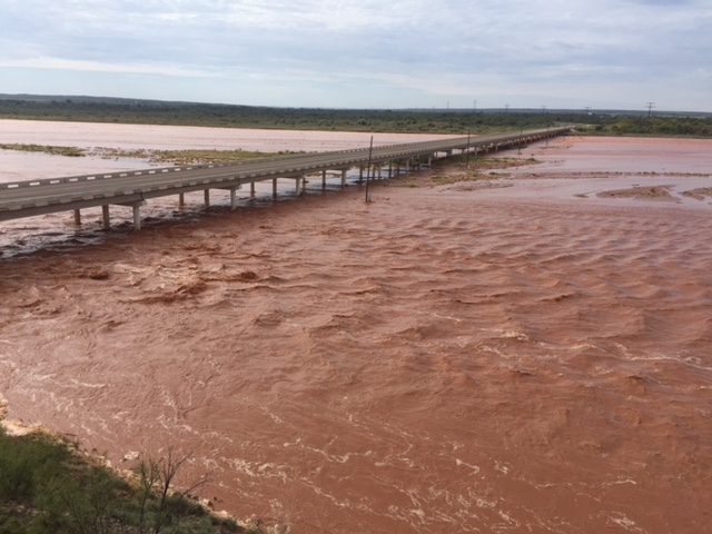 Photo of high water along the Red River in Childress County