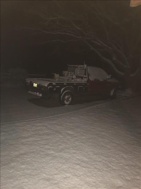 Snow that piled up in and around Matador on Friday evening, December 22, 2017. The picture is courtesy of KCBD and Brian Marshall.