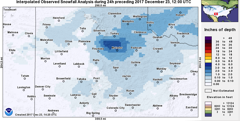 Interpolated 24 hour snowfall analysis ending at 6 am on Saturday, 23 December 2017. The analysis is from the National Operational Hydrologic Remote Sensing Center.