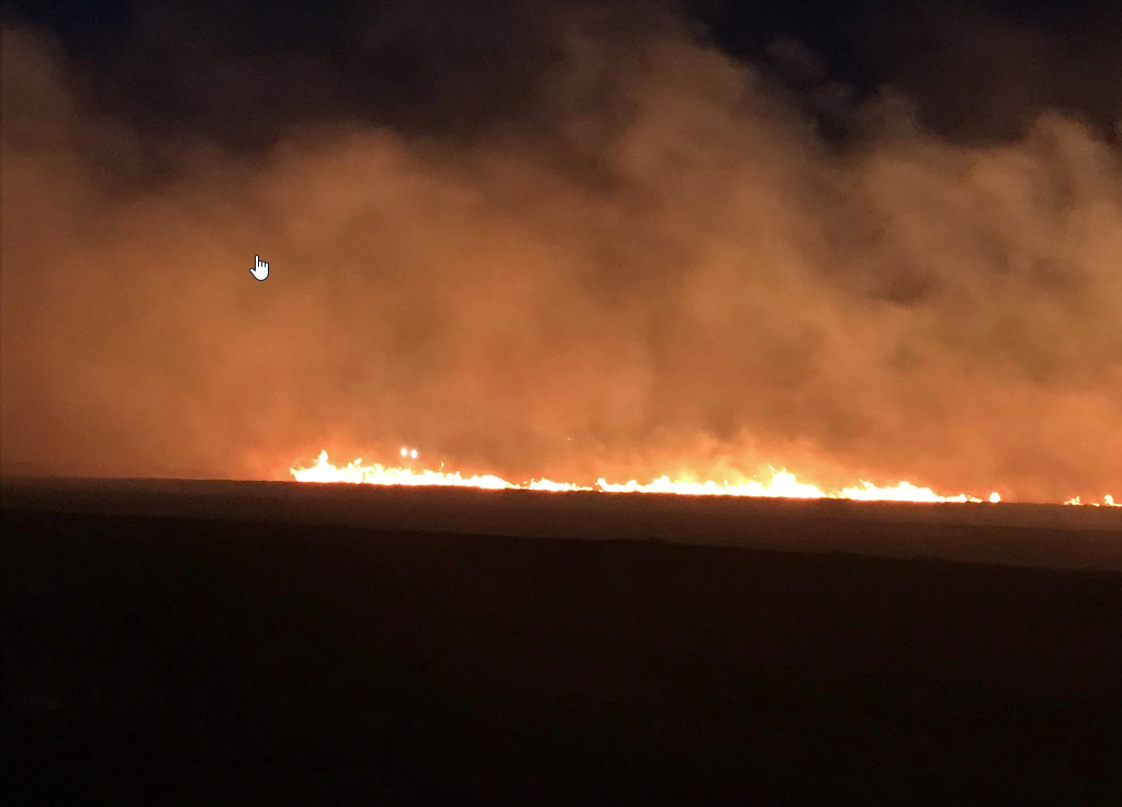 Wildfire burning in eastern Childress County on Friday evening, 16 March 2018. The picture is courtesy of the Texas A&M Forest Service.