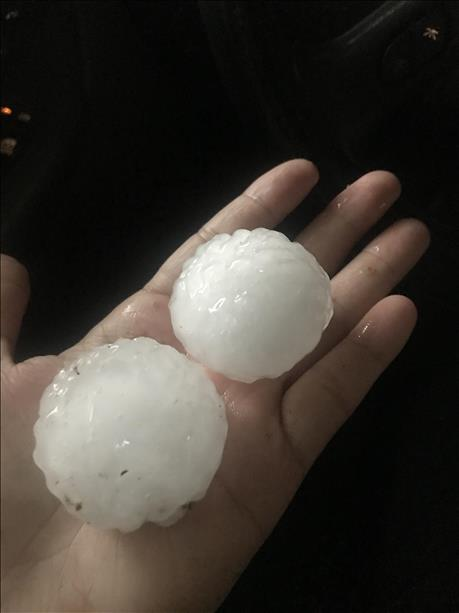 Large hail that fell in Ralls on June 1st. The picture is courtesy of KCBD and Jodie.