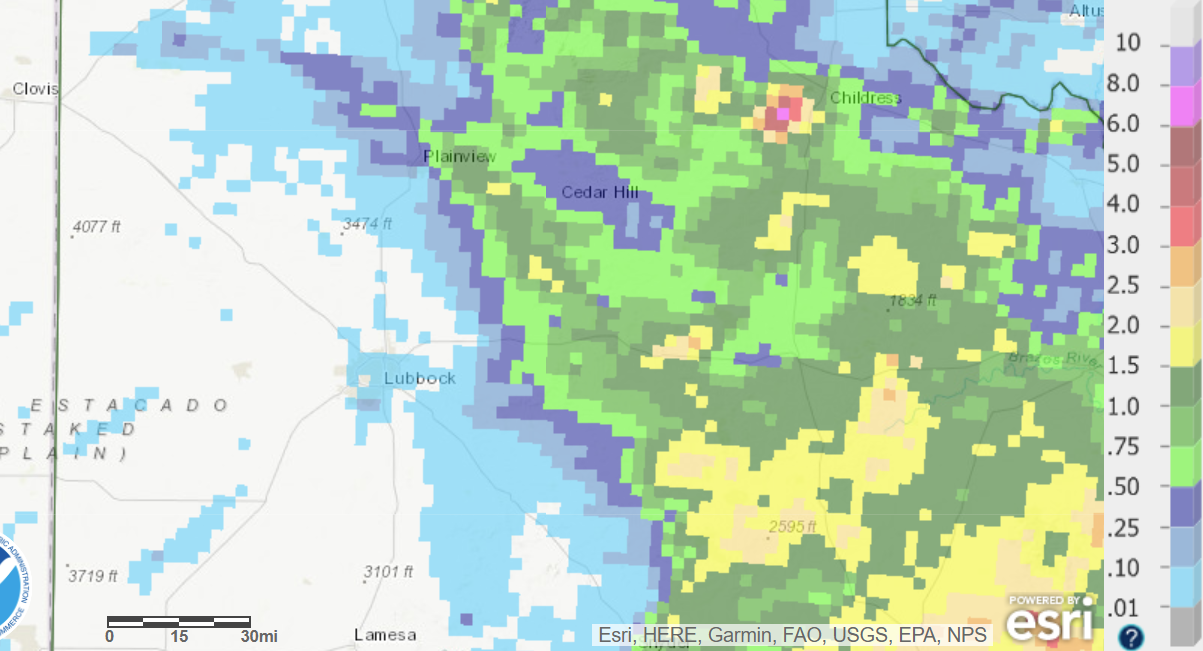 24-hour radar-estimated and bias-corrected rainfall ending at 7 am on 8 June 2018.