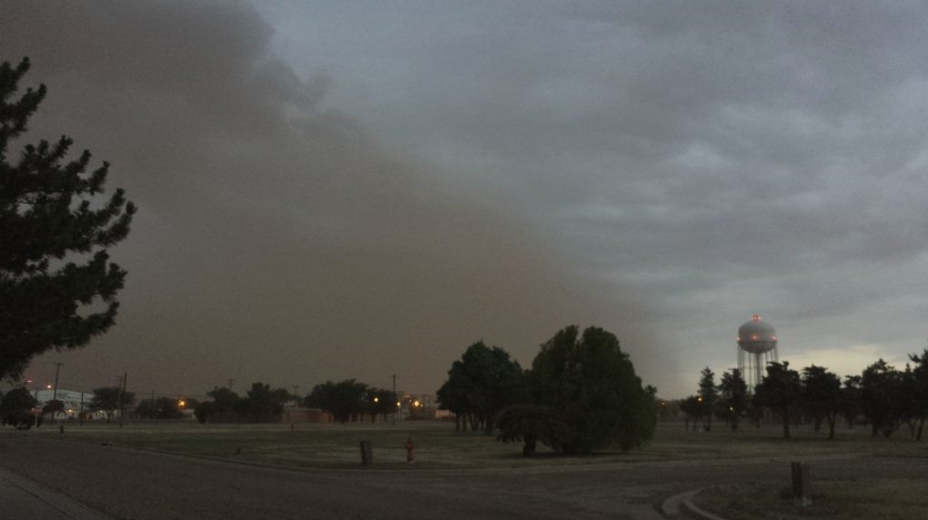 Shelf cloud and dust approaching Reese Center just before sunset on 2 July 2018. The picture is courtesy of Wes Burgett.