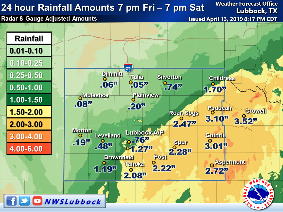 24-hour rainfall totals ending at 7 pm on 13 April 2019. Rain totals are courtesy of the West Texas Mesonet and the NWS.