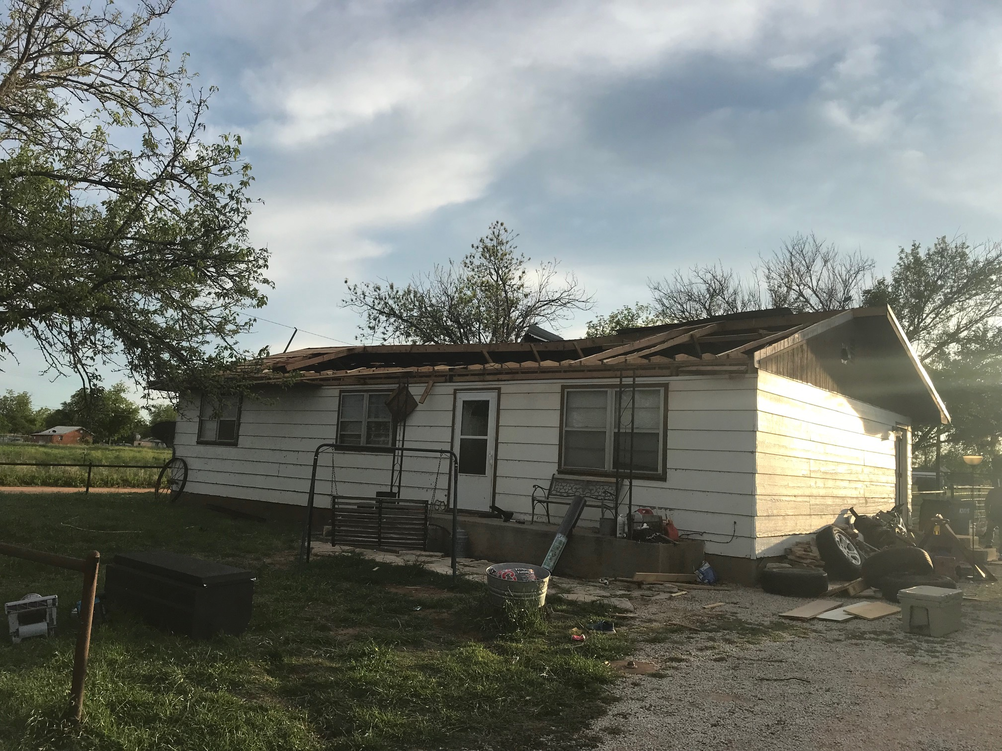 Home damaged in Paducah during the early hours of 23 April 2019. The image is courtesy of Randy Detwiler.