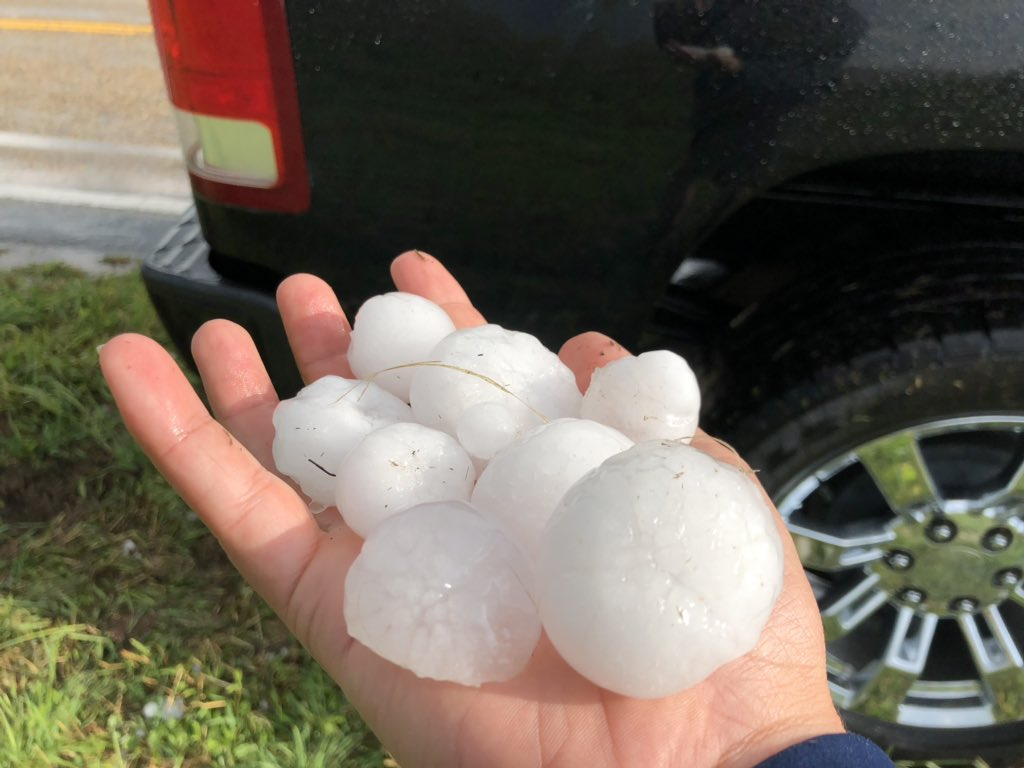 Hail that fell east of Plainview on Tuesday evening (April 30, 2019). The picture is courtesy of David Garcia.