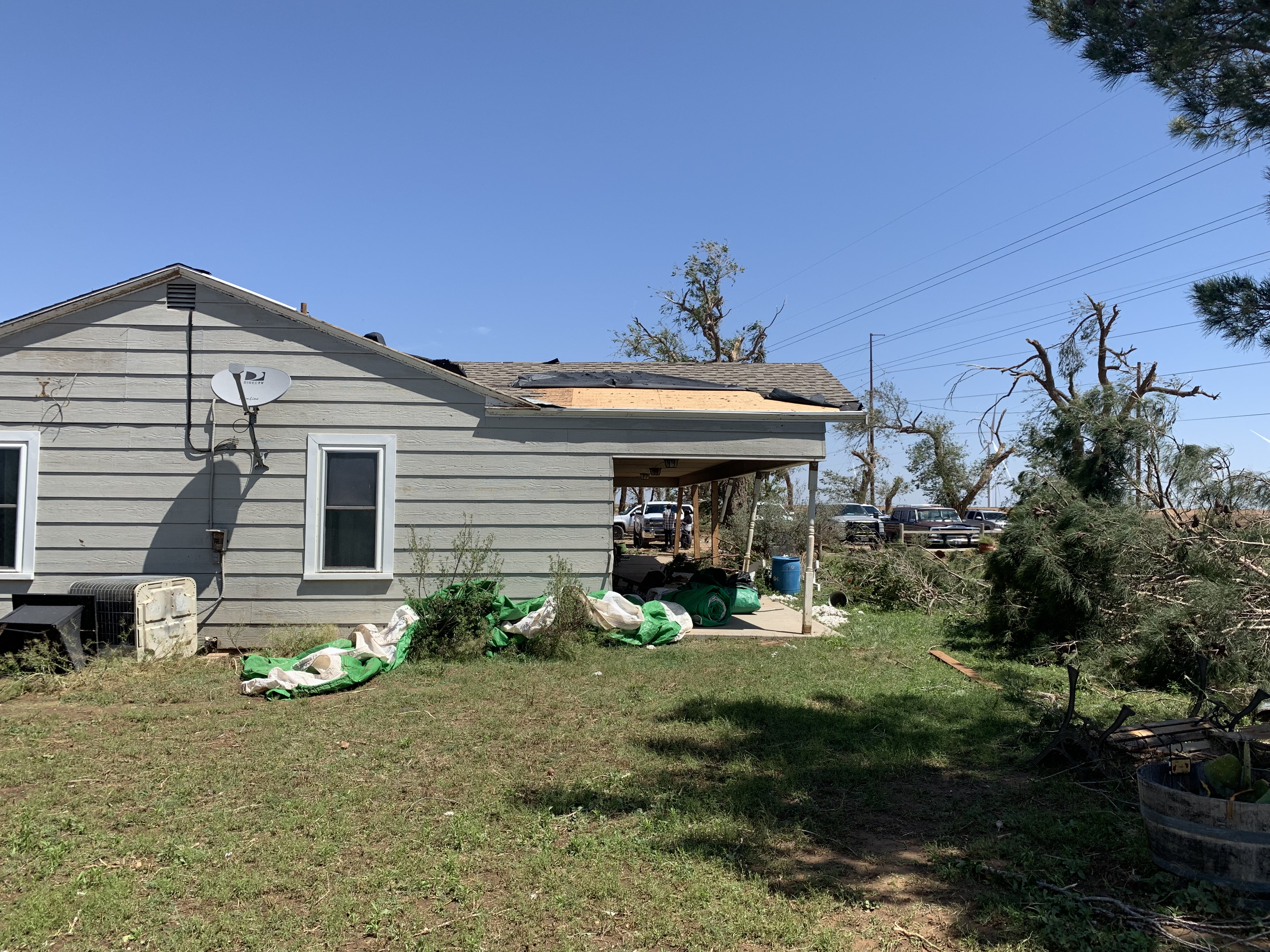 Photo of damage sustained from a tornado that tracked north and east of Tahoka on 5 May 2019.