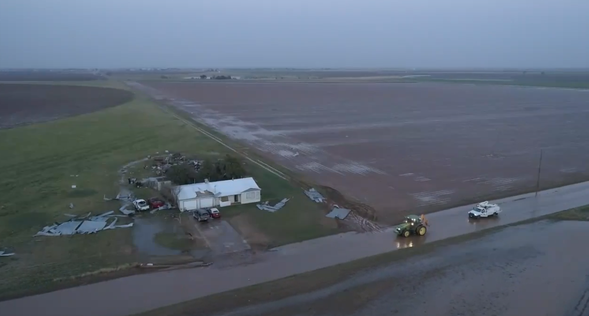 Damage incurred to a homestead about 2 miles west of Cotton Center. The image is courtesy of Fletcher Aerial Solutions.