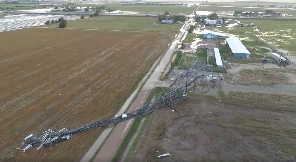 Collapsed cell phone tower on the north side of Plainview. The image is courtesy of Fletcher Aerial Solutions.