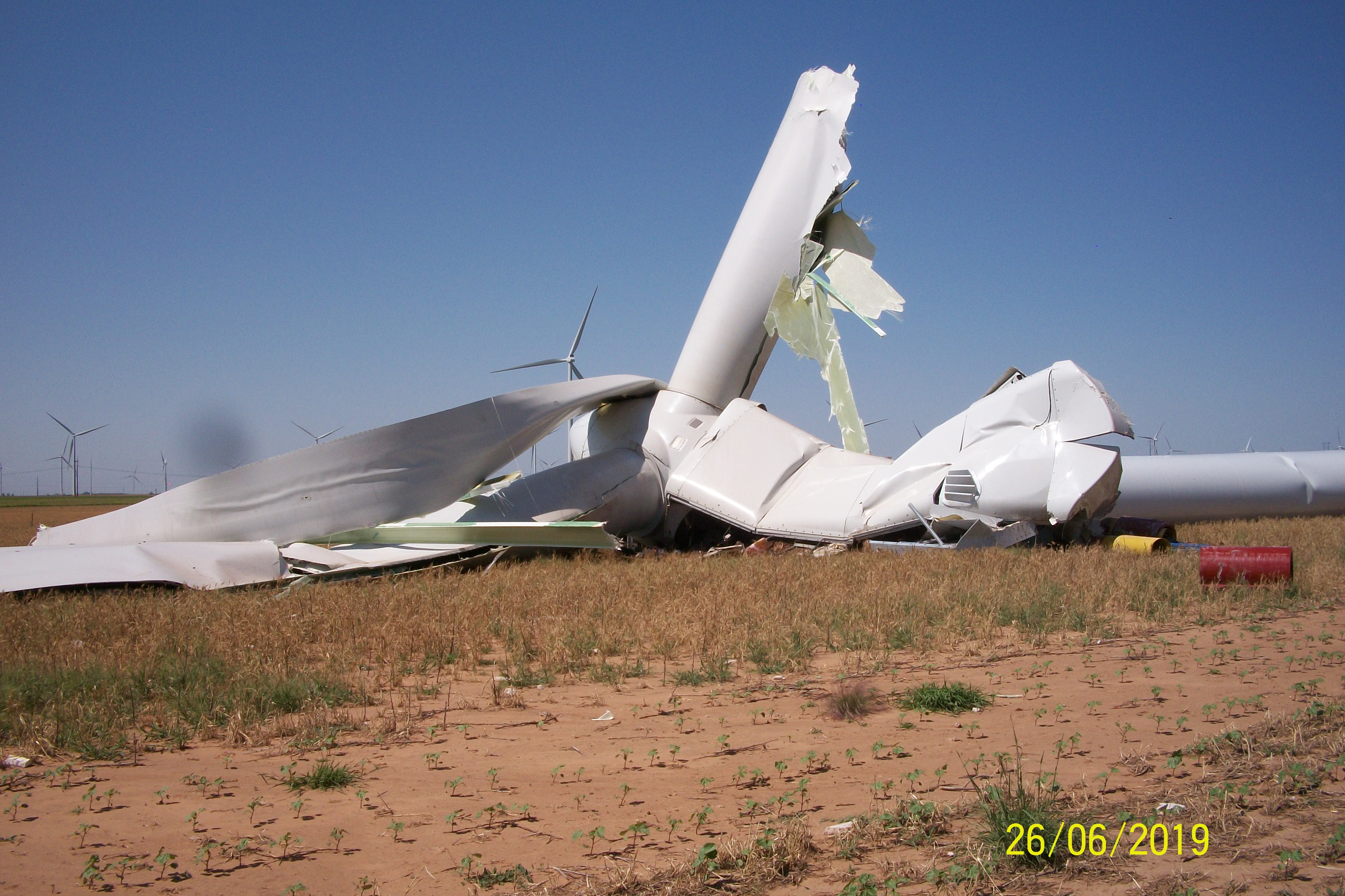 The Monday evening storm downed a wind turbine near Petersburg. The picture was taken by David Hipolito.