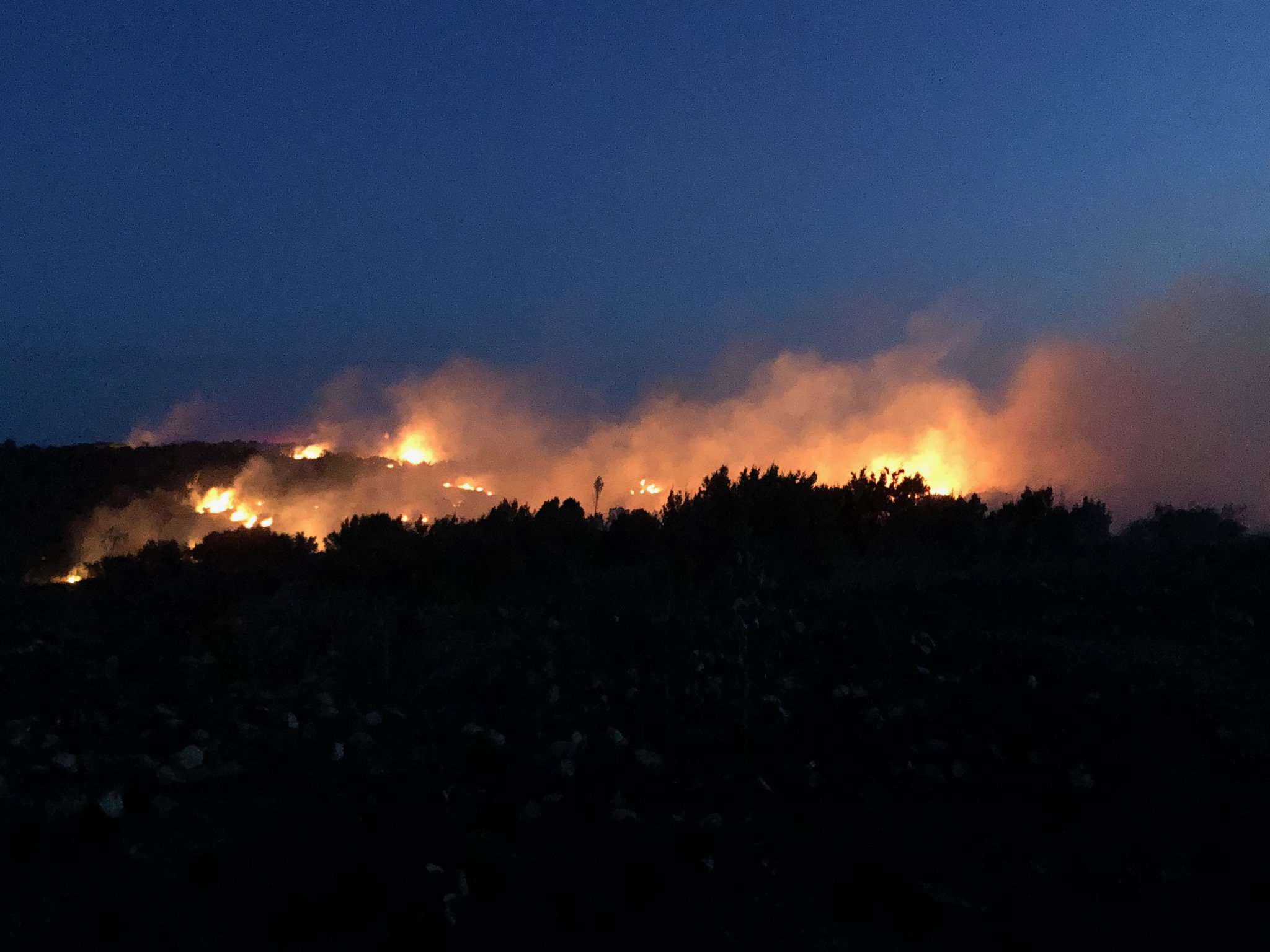 Bird Ranch Fire, located in western Cottle County, on 21 August 2019. The picture is courtesy of Linda Salzar.