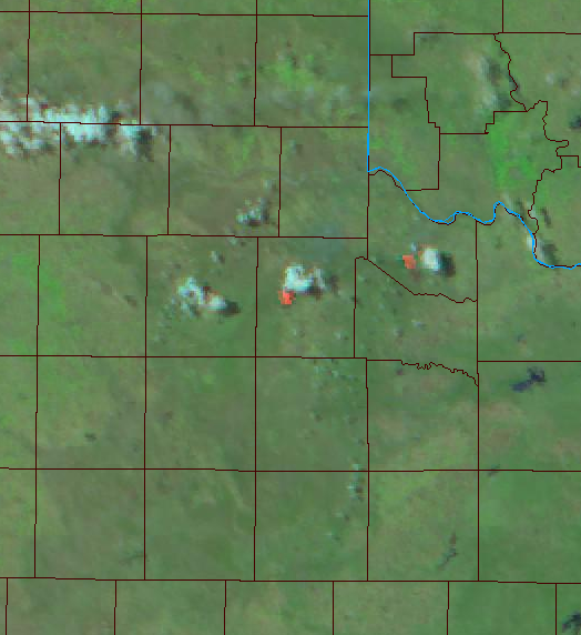 Satellite image that a cumulus cloud (pyrocumulus) developing above the Bird Ranch Fire burning in western Cottle County on 18 August 2019.