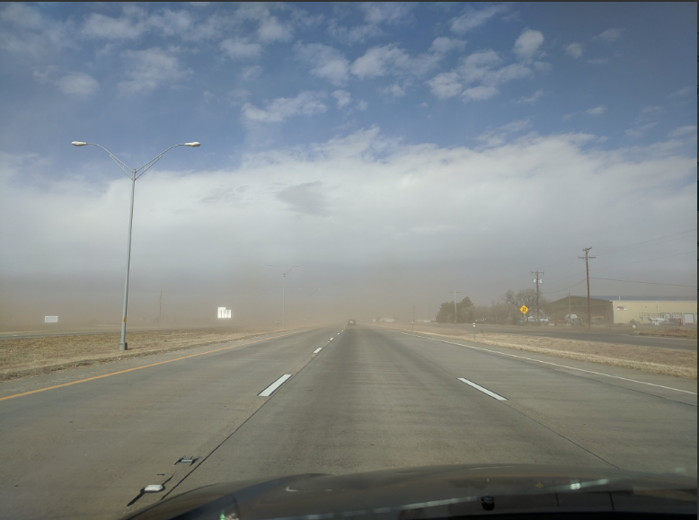 Dusty conditions affecting Interstate 27 near Plainview around 1 pm on 26 November 2019. The picture is courtesy of Alex Schueth.