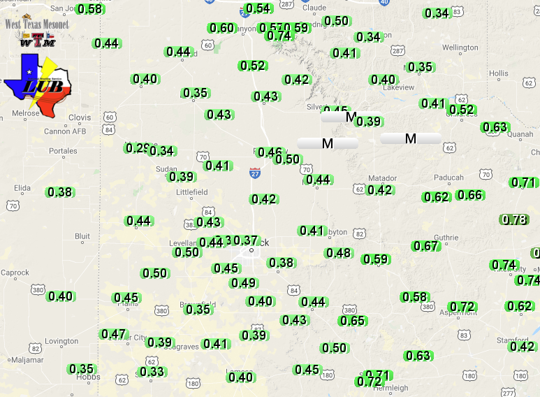Liquid totals (from rain and melted sleet, ice and snow) observed by the West Texas Mesonet from 27-28 November 2019.