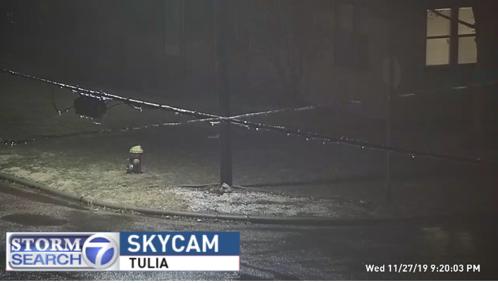 A thin glaze of ice in Tulia Wednesday evening, 27 November 2019. The image is courtesy of Storm Search 7.