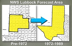 Image of the NWS LUB forecast area expansion in 1972.