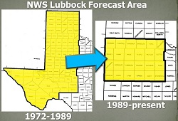 Image of NWS LUB's forecast area transition in 1989.