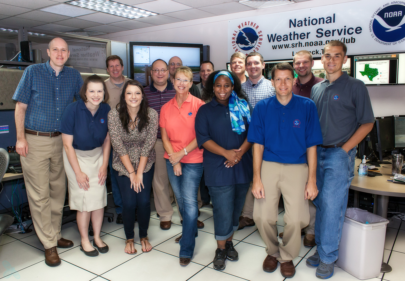 Many of the NWS Lubbock staff and volunteers who helped out with the open house.