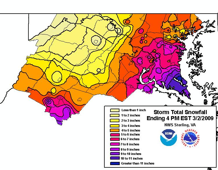 March Snowfall - Us snowfall map 2009