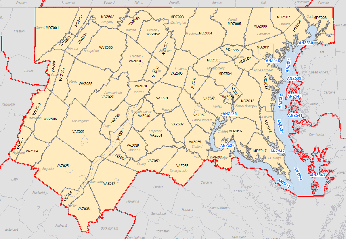 Zip Code Map Of Virginia.Fire Weather Page Old