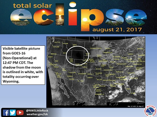 The satellite showed the moon's shadow over Wyoming at 1247 am CDT on 08/21/2017. This was roughly 25 to 35 minutes before projected maximum eclipse times for places in Arkansas (110 pm to 125 pm CDT).